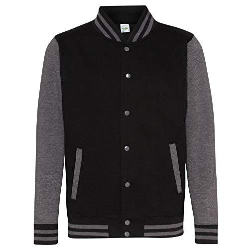 Awdis Unisex Varsity Jacket (M) (Jet Black/Charcoal) -