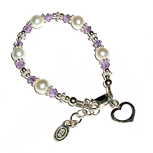 Precious Pieces Infant's Sterling Silver Cultured Pearl Bracelet with Lavender Swarovski Crystals and Heart ()