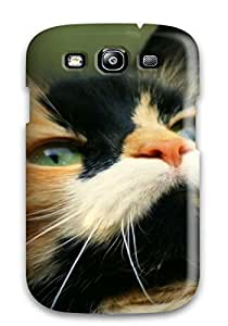 Case Cover Black And Gold Cat Closeup Animal Cat/ Fashionable Case For Galaxy S3
