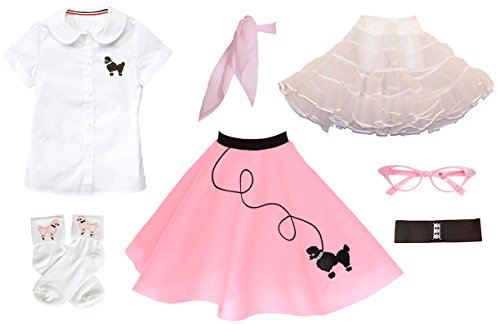 Hip Hop 50s Shop 7 Piece Child Poodle Skirt Outfit, Size 10 Light Pink]()