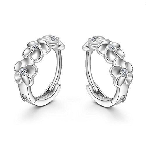 Price comparison product image Hemlock Women Girl's Earrings Silver Flower Crystal Earrings Stud (Silver)