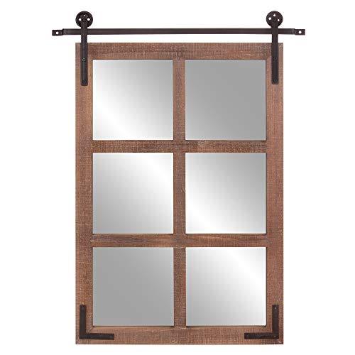 Patton Wall Decor 30x36 Sliding Barn Door Wood Window Wall Mounted Mirrors, - Barn Door Mirrors With Bathroom