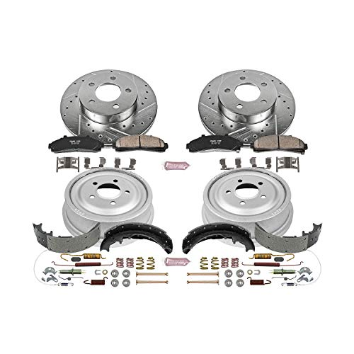 Power Stop K15004DK Front & Rear Brake Kit with Drilled/Slotted Brake Rotors and Z23 Evolution Ceramic Brake Pads