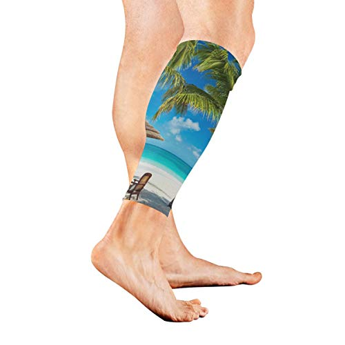Leg Lounger (Leg Sleeve Sunny Beach Coconut Trees and Loungers Compression Socks Support Non Slip Calf Sleeves Pads - Improve Circulation for Shin Splint, Calf Pain Recovery, Running, Cycling, Travel, 1 Pair)
