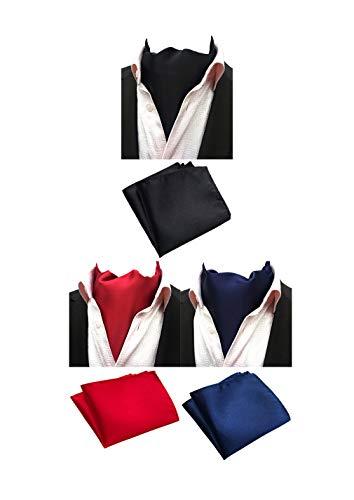 (MOHSLEE Mens Solid Color 3 Pack Cravat Party Ascot Scarf Tie & Pocket Square Set)