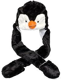 Plush Animal Hat w/ Built-In Mittens (Penguin)