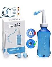 Lunata (Upgrade 2020) Neusdouche voor Kinderen en Volwassenen + 20x Neuszoutspoeling, Doseerlepel + 2x Opzetstukken + Recepten voor Neusspoelingen, Neusspoelkan, Neusreiniging, Neusspoeling