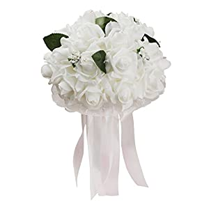 vLoveLife Wedding Bouquet White Artificial Rose Flowers Bridal Bridesmaid Bouquets Handmade Posy Pearl Rhinestone Ribbon Decor 71