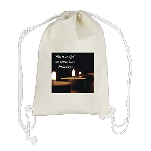Believe In The Lord With All Thine Heart Cotton Canvas Backpack Drawstring Bag ()