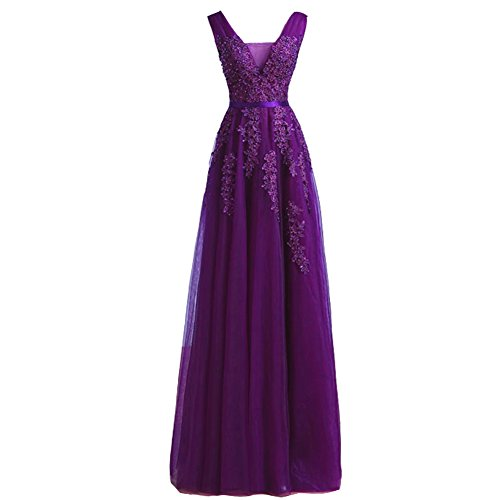 Lemai Tulle Beaded Lace Appliques Long Prom Evening Dress Bridesmaid Purple US 12 (Prom Corset Dress)