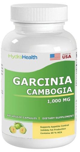 Garcinia cambogia, 1000 MG (60% HCA 600mg Acide hydroxycitrique), Tout Natural Weight Loss et contrôle de l'appétit, Charges Zéro ou ingrédients artificiels, 120 Vegetable Capsules