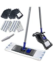 Mastertop Professional Microfiber Mop Stainless Steel Handle Flat Magic Mop 2 Free Replaceable Mop Head Size 18x4.8 in