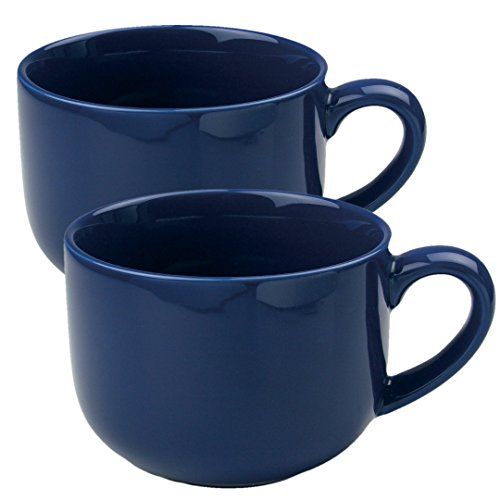 24 ounce Extra Large Latte Coffee Mug Cup or Soup Bowl with Handle - Navy Blue (Set of 2) (Soup Coffee Mugs Jumbo)