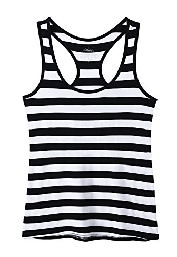 Vislivin Tank Tops for Women Racerback Tank Top Basic Workout Tanks Black White Stripe XL ()