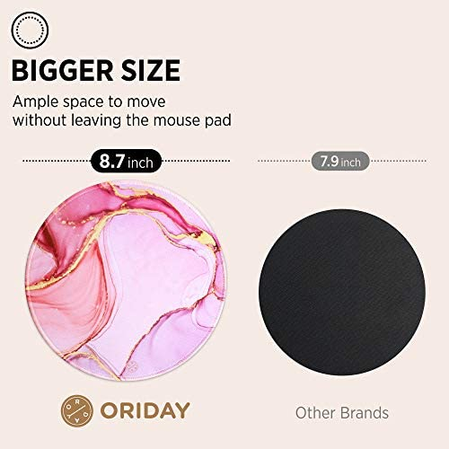 """ORIDAY CUSTOMIZED ROUND GAMING MOUSE PAD, AESTHETIC, STYLISH CIRCULAR MOUSEPAD WITH STITCHED EDGE FOR DESK, WORK, HOME OFFICE DECOR, WASHABLE, 8.7"""" X 8.7"""" LARGE SIZE, 3MM THICKNESS (PINK AND PURPLE)"""