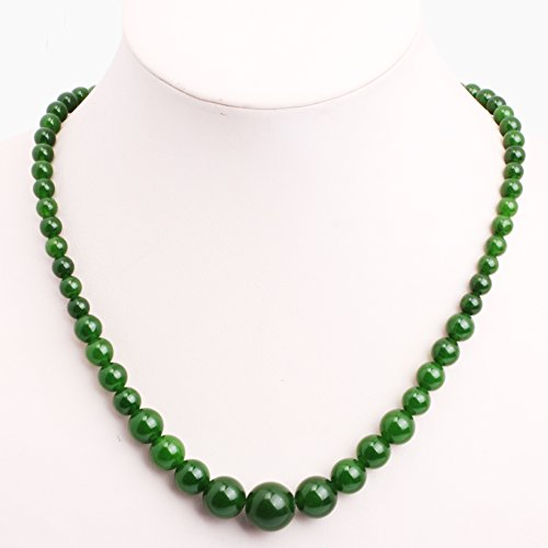 GEM-inside Necklace Pendant Graduated Gemstone Green Jade Beads Fashion Jewellry 18 Inches (Green Jade Gemstone Necklace)