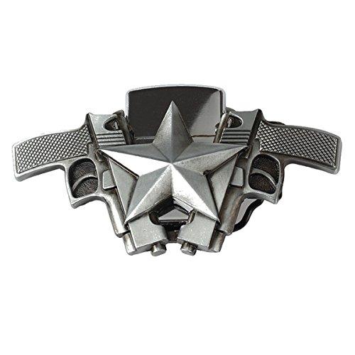 Star Lighter Belt Buckle - Five-Star Handgun Lighter Belt Buckle Cowboy Native American Motorcyclist (LTR-07)