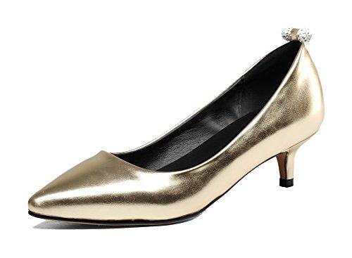 Bas à Antidérapage Semelle Chaussures Légeres Doré VogueZone009 Tire Femme Talon RxqTwYUY