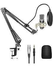 Neewer Condensatormicrofoonkit - NW-700 Mic (zwart), NW-35 schaararmstandaard met montageklem, schokmontage (zilver) en popfilterplaat voor thuis, studio-opname