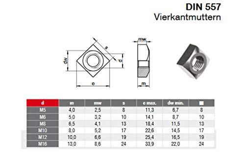 10 STK M6 Vierkantmutter DIN 557 Edelstahl A2 Quadratmutter Einlegemutter