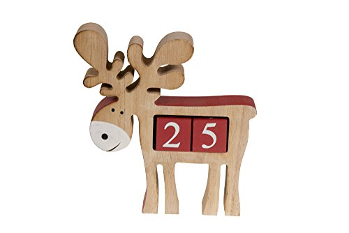 100 Day Activities (Count Down Reindeer Advent Calendar Blocks | Days Until Christmas| 100% Wood Build | Red & Brown Smiling Reindeer Decor | Measures 6.5