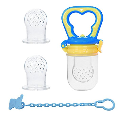 Food Feeder | Baby Fruit Feeder | Teething Toy | Silicone Teether Nibbler | No Messy Mesh Bag | 2 Extra Nipples | BPA free (M, Blue) (Netted Pacifier)