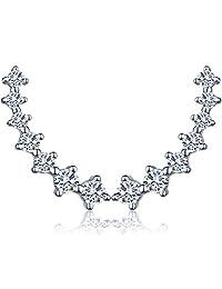 Infinite U Womens 925 Sterling Silver Cuffs Wraps Shell Pearl Earrings Studs for Women Girls