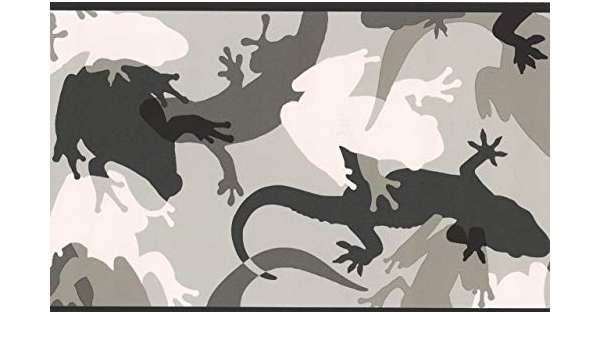 Grey Black White Abstract Lizard Frog Wallpaper Border For Kids Roll 15 X 7