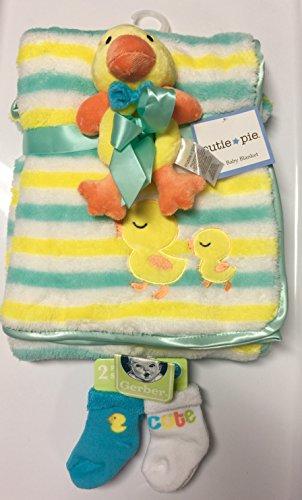 Duckie Baby Blanket (Two Piece Duckie Baby Blanket plus 2 pack socks Gift Set)