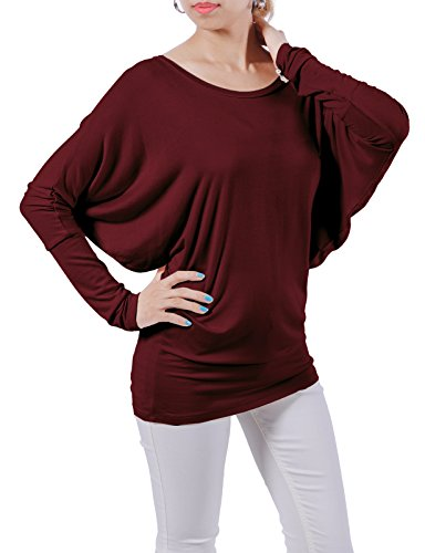 H2H Womens Dolman Style Round Neck Long Sleeve Small Top Tee BURGUNDY US S/Asia S (CWTTL0183)