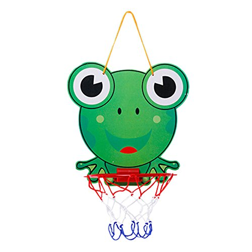 (Yeefant Mini Frog Basketball Slam Dunk Hoop Set,Over the Door Plastic Toy Backboard 12x11 Inch,1 Ball Pump,Simple Assembly, Kids Toy Basketball Hoop Board Plastic With Indoor Hanging Hoops Game)