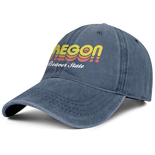 Beaver State Oregon Denim Baseball Hats Unisex Men Casual Adjustable Mesh Sun Flat Cap -