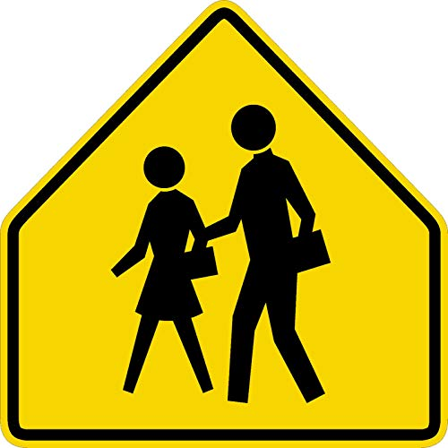 Traffic Signs - School Crossing Ahead Sign Prismatic 10 x 7 Aluminum Metal Sign Street Weather Approved Sign 0.04 Thickness