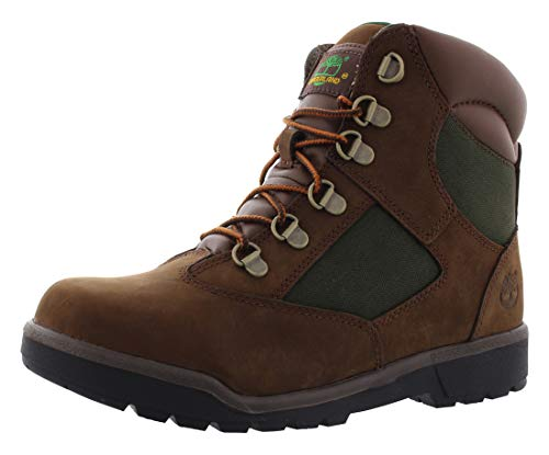 Timberland 6-Inch Leather and Fabric Field Boot (Toddler/Little Kid/Big Kid),Brown Nubuck with Green,7 M US Big - Boots Field Nubuck