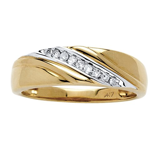 Men's White Diamond 10k Yellow Gold Diagonal Ring (.12 cttw, HI Color, I3 Clarity)