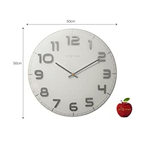 Nextime Reloj de Pared Classy Large, Muy silencioso, en Cristal, Blanco, Redondo, ø 50 cm 6