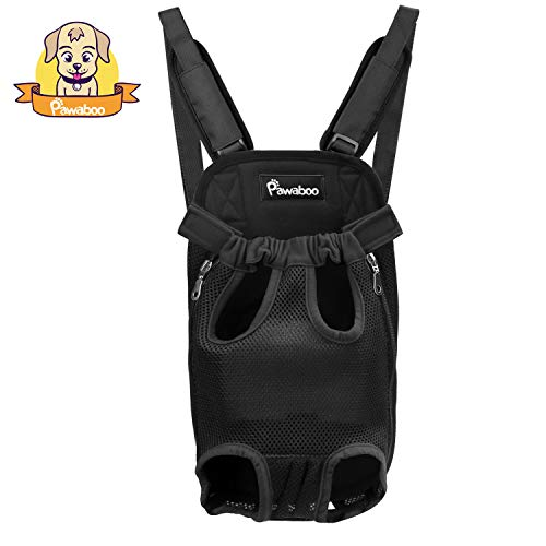 PAWABOO Pet Carrier Backpack, Adjustable Pet Front Cat Dog Carrier Backpack Travel Bag, Legs Out, Easy-Fit for Traveling Hiking Camping, Small Size, ()