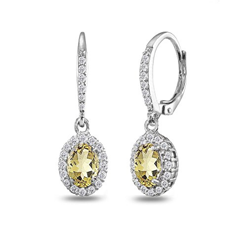 Sterling Silver Citrine Oval Dangle Halo Leverback Earrings with White Topaz Accents (Topaz Star White Prong)