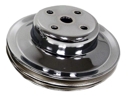 CHEVY BIG BLOCK 2 GROOVE CHROME PULLEY LONG PUMP BBC