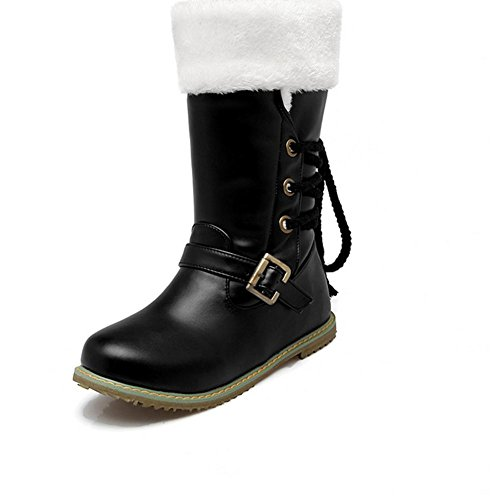 beige respirable goma botas negro 39 botas planas en frente desgaste BLACK blanco botas nieve mujeres XIAOGANG H hebilla HInvierno la encaje aqTZXZ