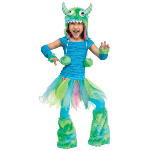 [Fun World Costumes Baby Girl's Beastie Toddler Costume, Blue, Large(3T-4T)] (Girls Monster Halloween Costumes)