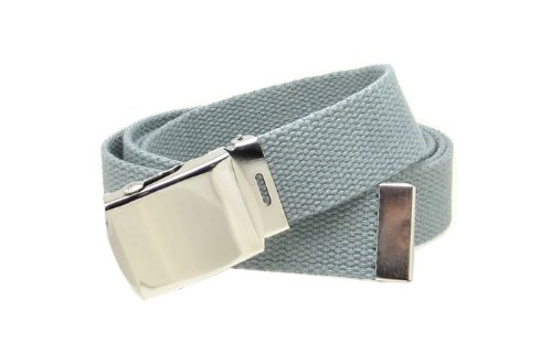[Grey Web Belt with Buckle Military Style] (Grey Belt Buckle)