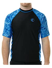 Aqua Design Mens Short Sleeve Rash Guard Shirt: Surf Swim Rashguard Shirts