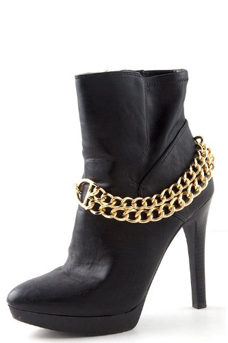 TRENDY FASHION BOOTS ANKLET WITH DOUBLE CHAIN BY FASHION DESTINATION