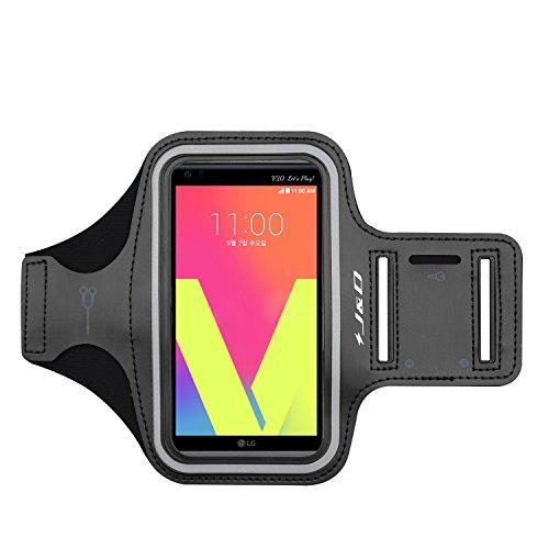 J&D Armband Compatible for LG V20 Armband, LG V30 Armband, LG V35 ThinQ Armband, Sports Armband with Key Holder Slot for LG V20 Running Armband, Perfect Earphone Connection While Workout - Black