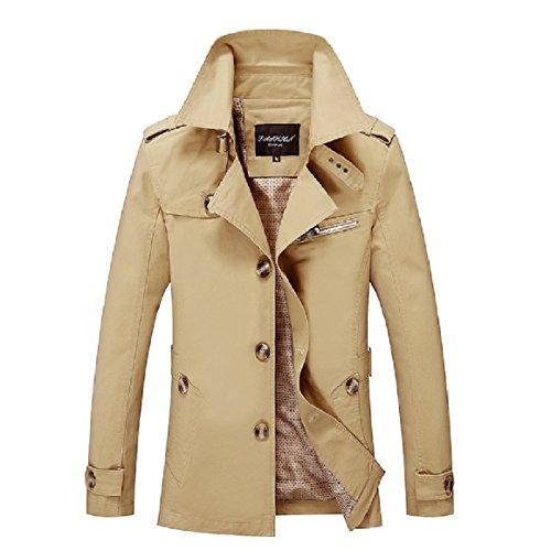 RkBaoye Men Plus-Size Single-breasted Lapel Cardi Windbreaker Jacket Coat AS2