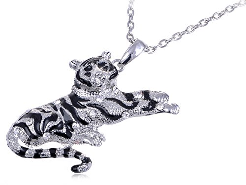 [Alilang Crouching Silvery Tone Black Striped Rhinestone Tiger Pendant Necklace] (Pop Art Girl Costume Outfit)