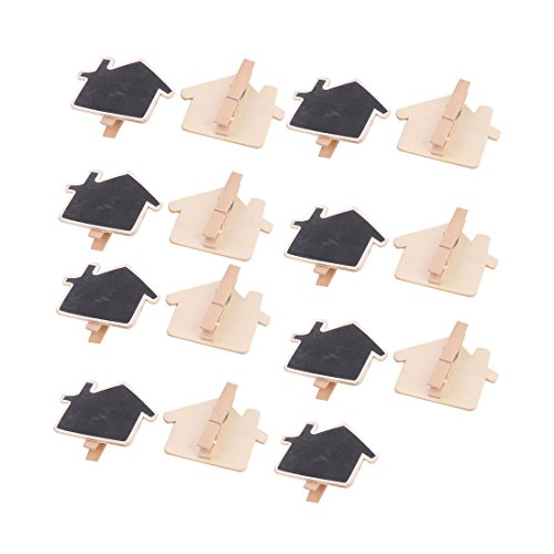uxcell Family Wood House Shaped DIY Decor Chalkboard Blackboard Table Number Sign 15pcs