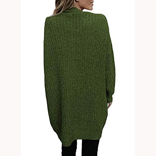 Donna cappotto Lunghe Giacca Pelle Bazhahei Inverno Di Verde Maglieria Top Moda donna Cappotto Maglione Giacca Cardigan Maniche Casuale cardigan Autunno qdvEvW