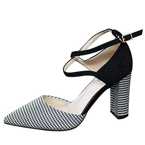 YMFIE Elegante Temperamento Cruz con Enrejado Acentuado Sexy Zapatos de tacón Alto Zapatos de tacón Alto, 37 UE 39 EU